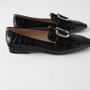 Zara Black Mock Croc Loafers with Buckle Size 9 US